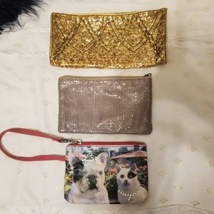 Handbags - Set of 3 clutch purse wristlet makeup pouches